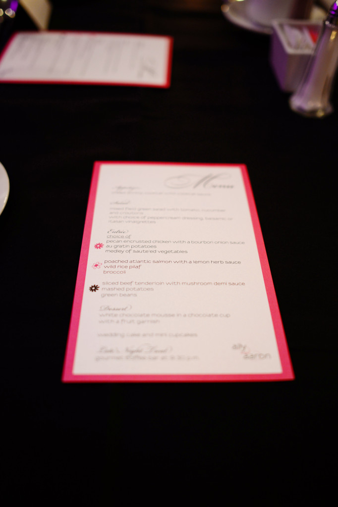Ally + Aaron Reception Menus