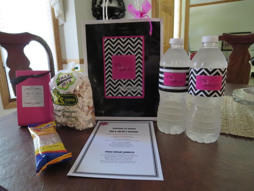 Ally + Aaron Guest Gift Bag & Custom Water Bottle Labels