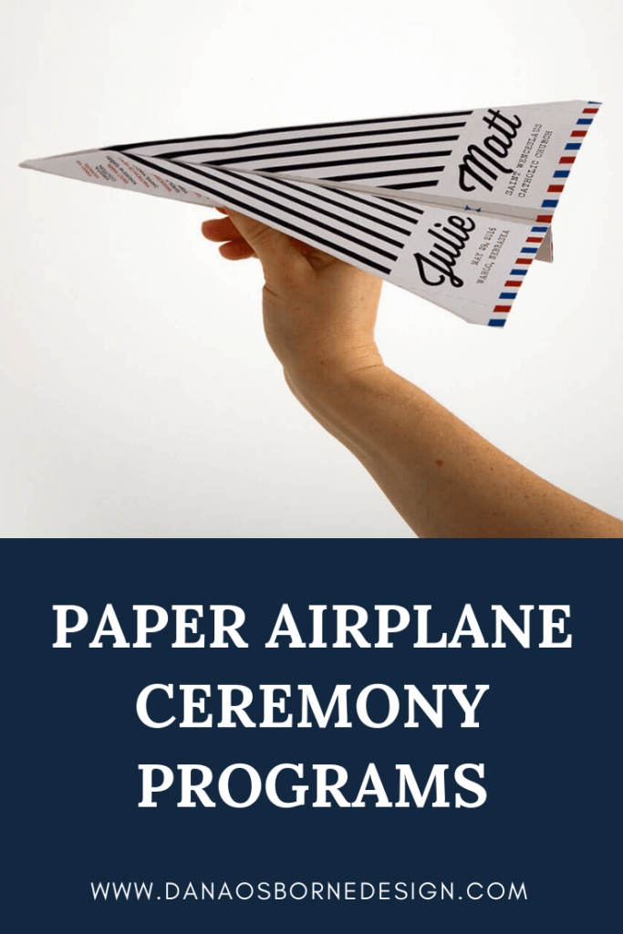 paper airplane wedding program, wedding ceremony programs, Dana Osborne Design, airplane programs