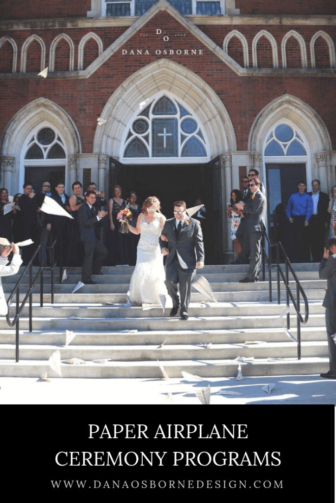 paper airplane ceremony programs, ceremony programs, unique ceremony programs, airplane wedding, aerospace wedding, ceremony programs