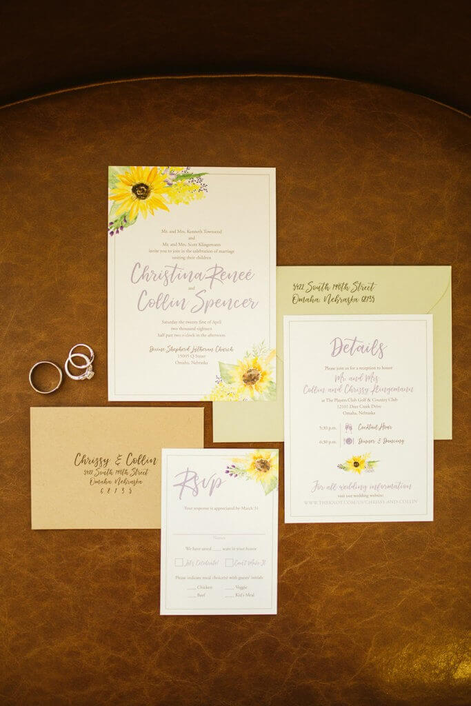 wedding invitation sunflower omaha nebraska dana osborne design