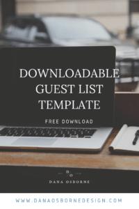 Downloadable Wedding Guest List Template, Free Guest List Template, Wedding Guest List, Excel Guest List, Dana Osborne Design