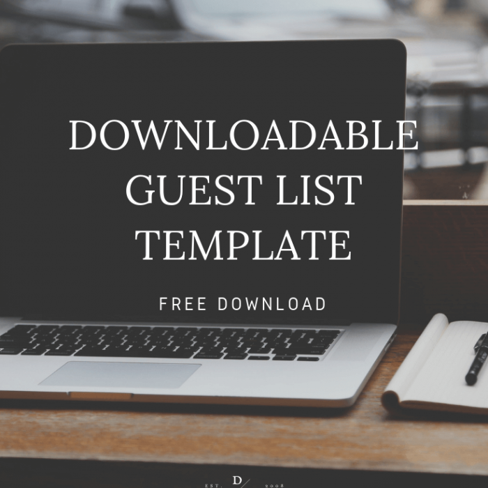 Downloadable Wedding Guest List Template, Free Guest List Template, Wedding Guest List, Excel Guest List, Dana Osborne Design