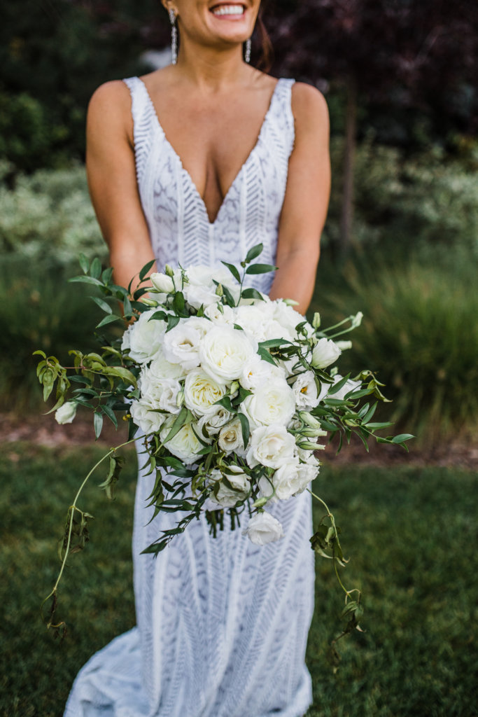 White Bouquet Roses Denver Colorado Wedding Dana Osborne Design