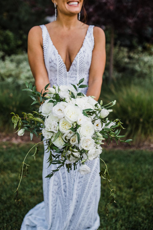 White Bouquet Roses Denver Colorado Wedding Dana Osborne Design