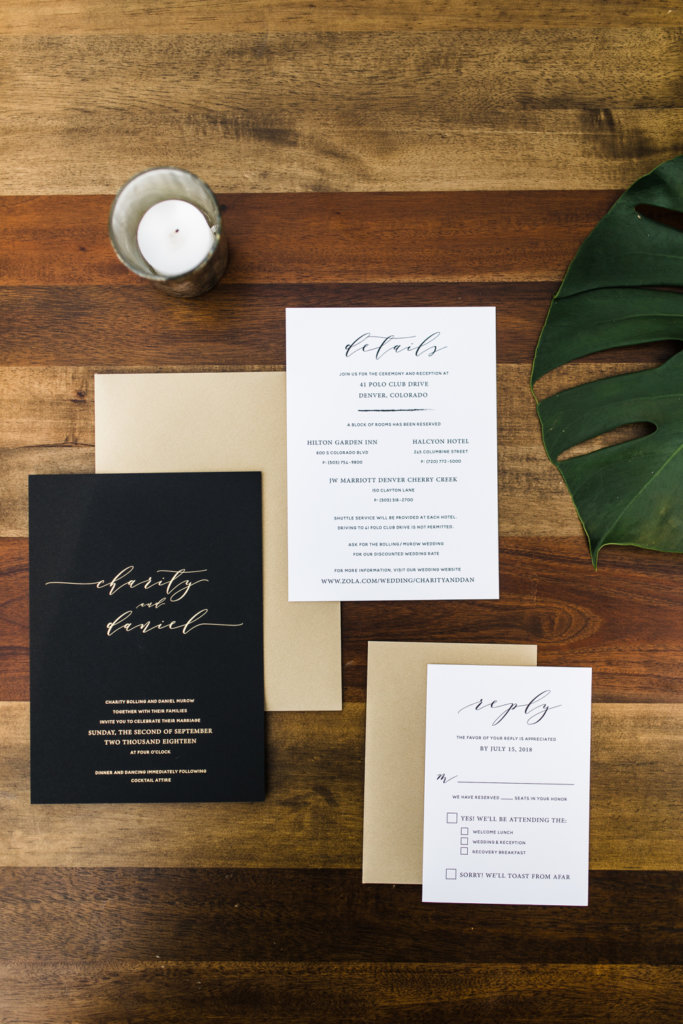black gold foil wedding invitation, denver colorado wedding, dana osborne design