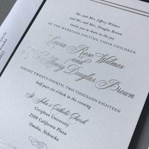 silver foil wedding invitation, wording wedding invitation, verbiage wedding invitation