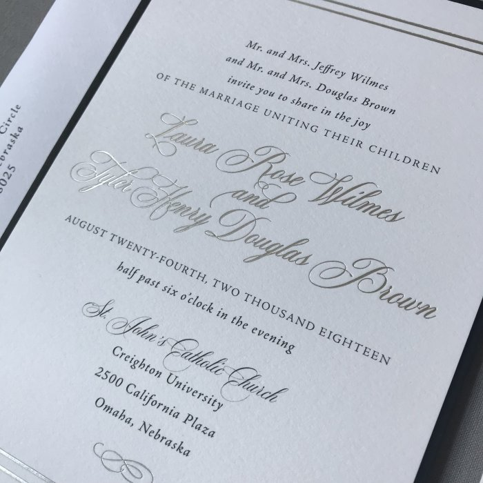 silver foil wedding invitation, wording wedding invitation, verbiage wedding invitation