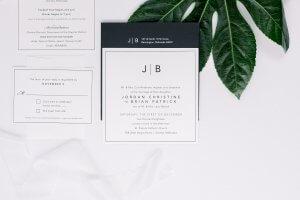 black white modern wedding invitation dana osborne design omaha, nebraska