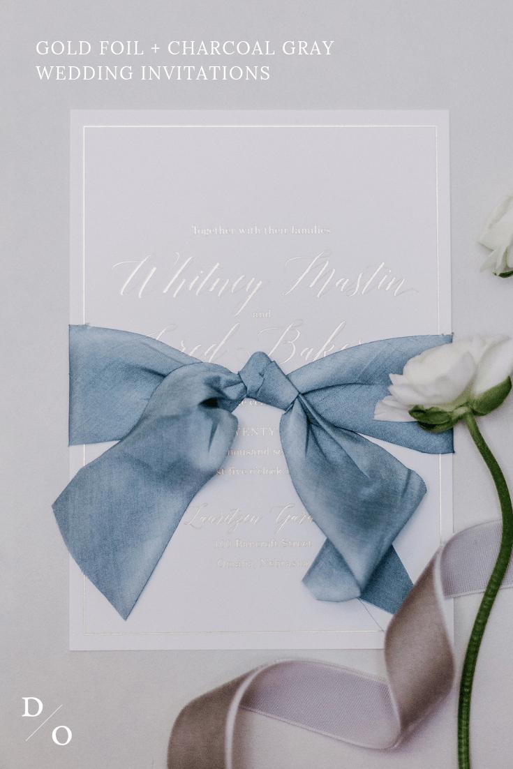 classic, wedding invitations, gold foil, charcoal gray, silk ribbon, dana Osborne design, Omaha, midwest, affordable