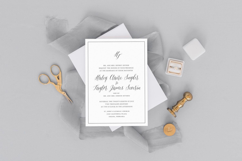 wedding invitation, dana osborne design, classic, monogram