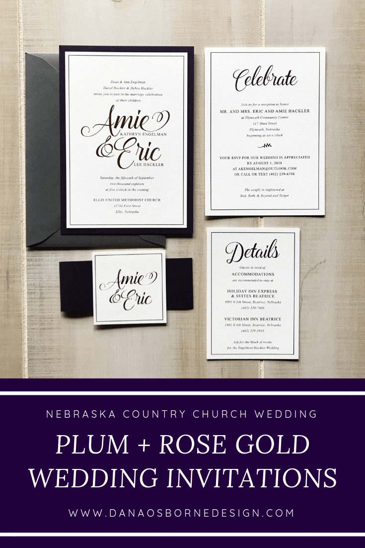 country church wedding, nebraska, plum, rose gold, wedding invitations, dana Osborne design, Omaha, midwest, affordable