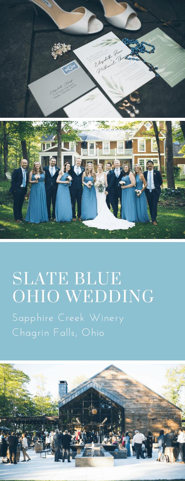 classic, wedding invitations, greenery, ohio wedding, slate blue, slate gray, rose gold foil, dana Osborne design, Omaha, midwest, affordable