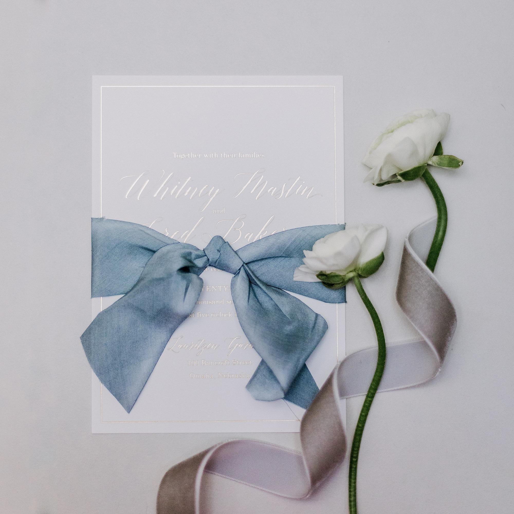 gold foil charcoal gray silk ribbon wedding invitation dana osborne design