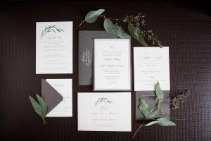 gray white classic wedding invitations omaha, nebraska