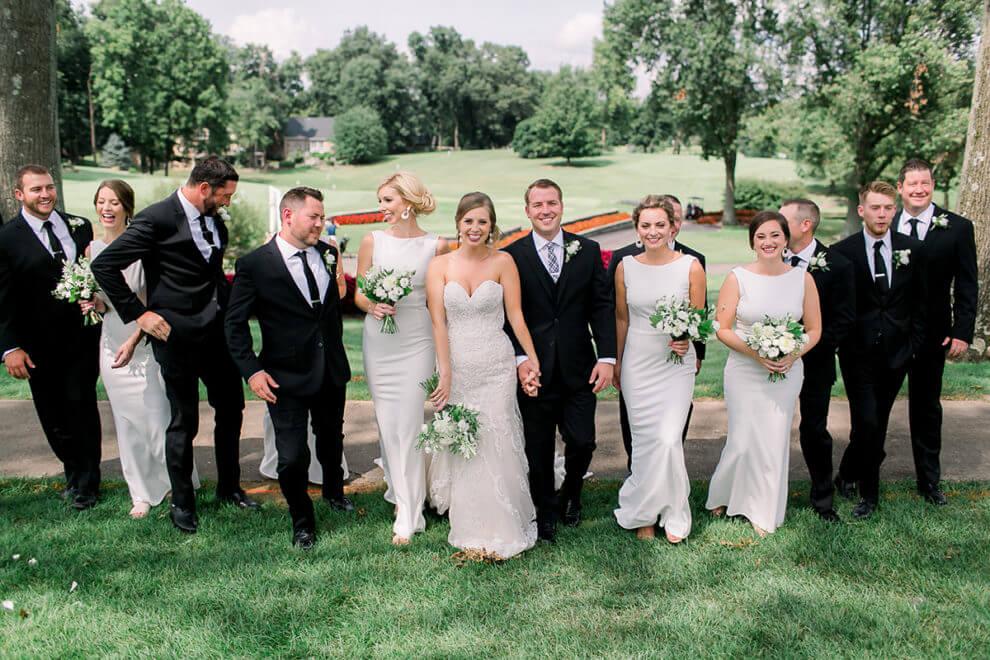 wedding party white dresses indiana wedding