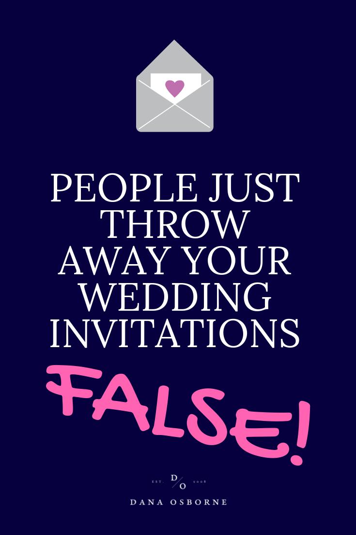 throw away, wedding invitations, wedding myth, dana Osborne design, Omaha, midwest, affordable