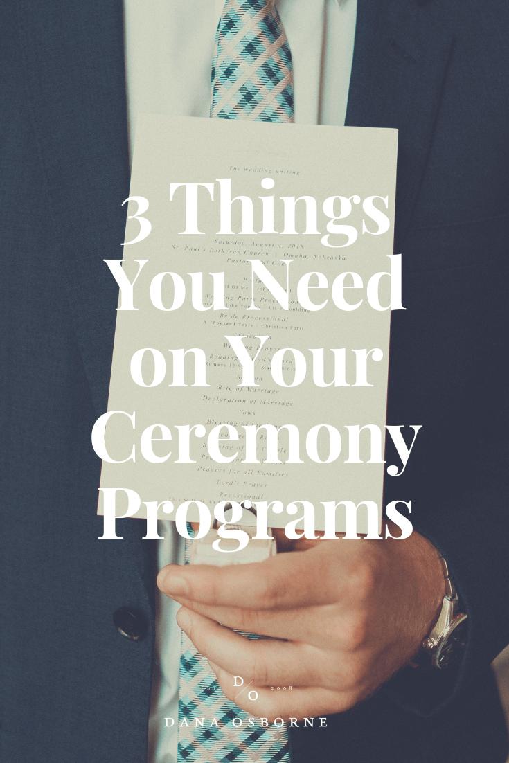 wedding program, ceremony program, what do I need, dana Osborne design, Omaha, midwest, affordable