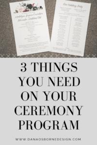wedding ceremony programs dana osborne design
