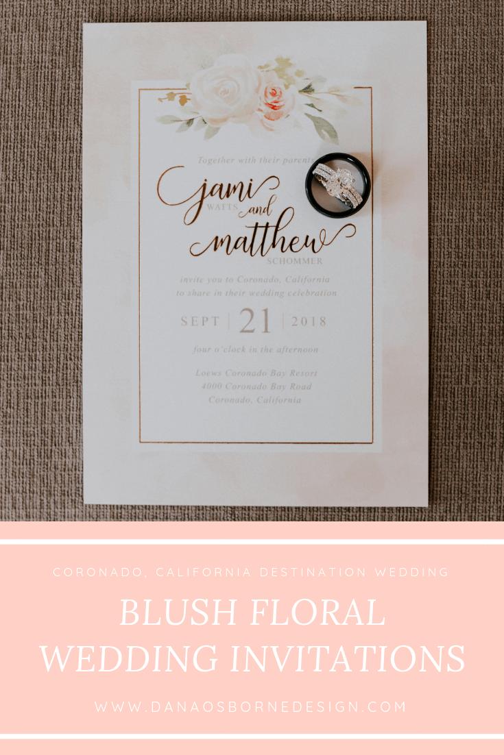 blush, rose gold, floral, wedding invitations, Dana Osborne design, Omaha, midwest, affordable