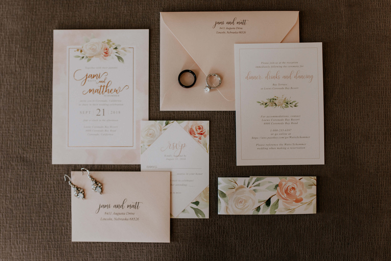 wedding invitations dana osborne design blush floral rose gold destination wedding