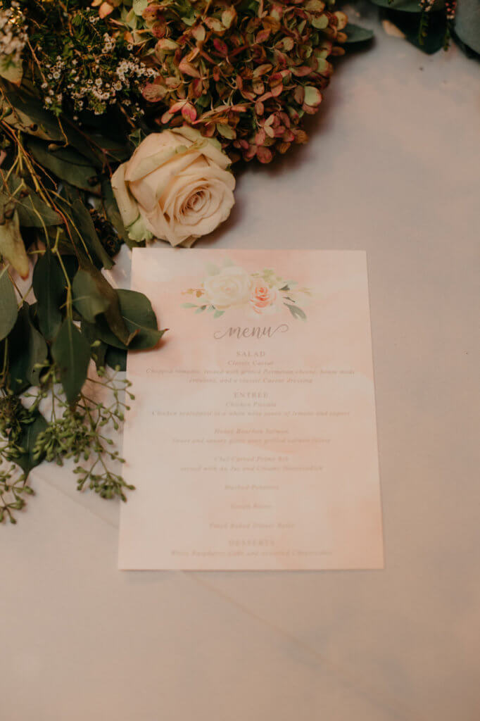 wedding menu blush floral dana osborne design
