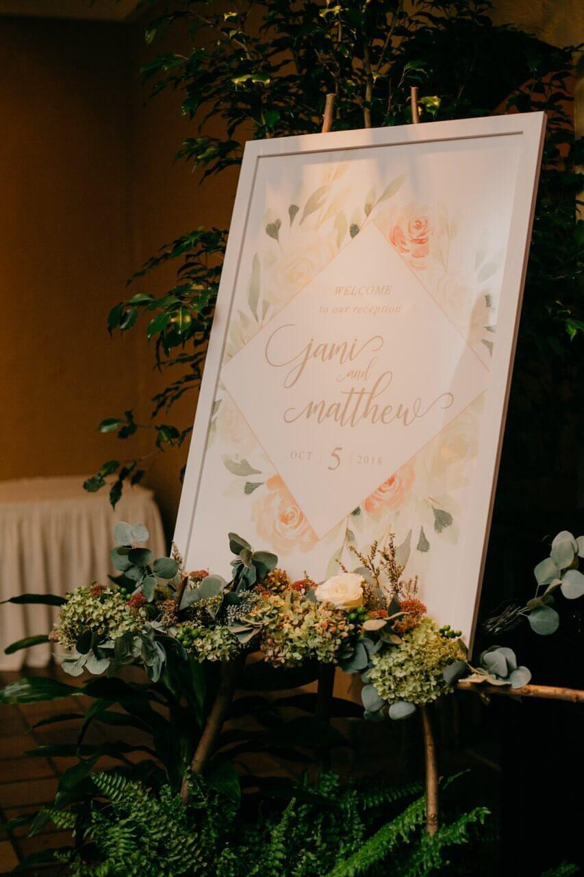 welcome sign wedding reception dana osborne design
