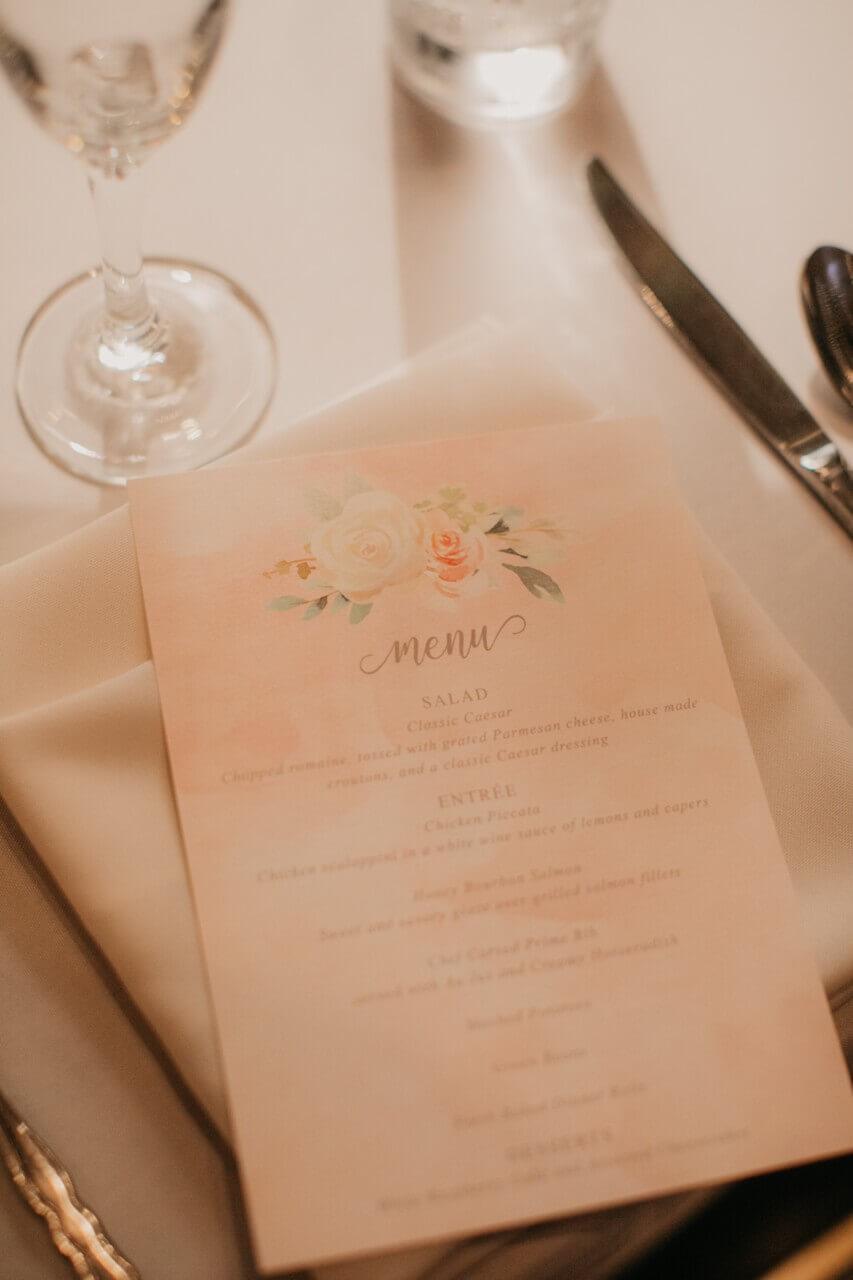 wedding menu blush floral dana osborne design