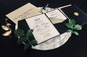 black white classic wedding monogram dana osborne design
