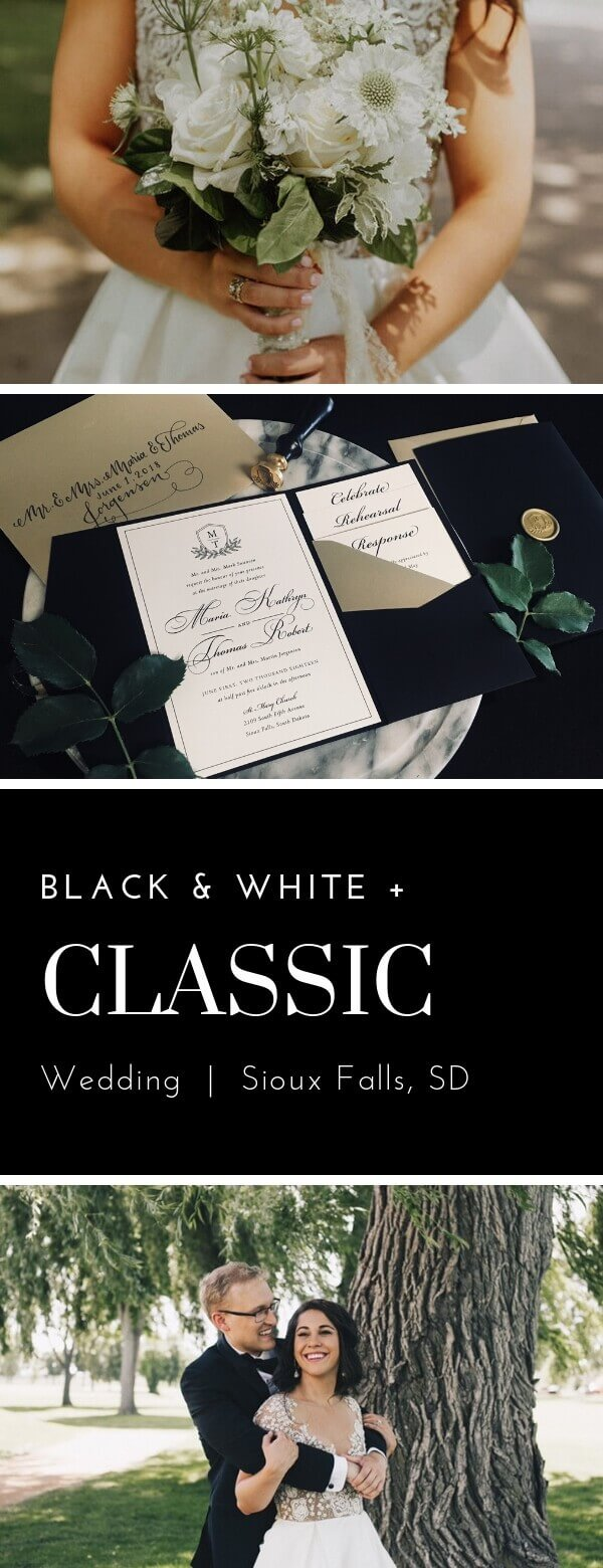 classic, wedding invitations, monogram, dana Osborne design, Sioux Falls, midwest, black & white
