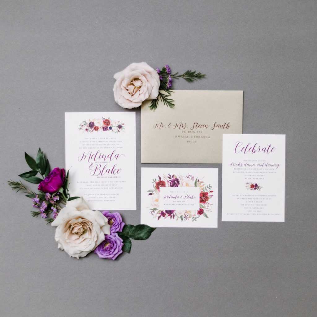 floral wedding invitations, dana osborne design, burgundy floral