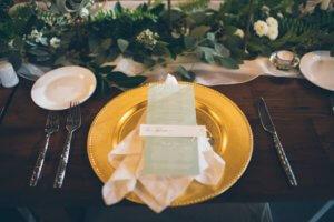 green wedding menu greenery dana osborne design