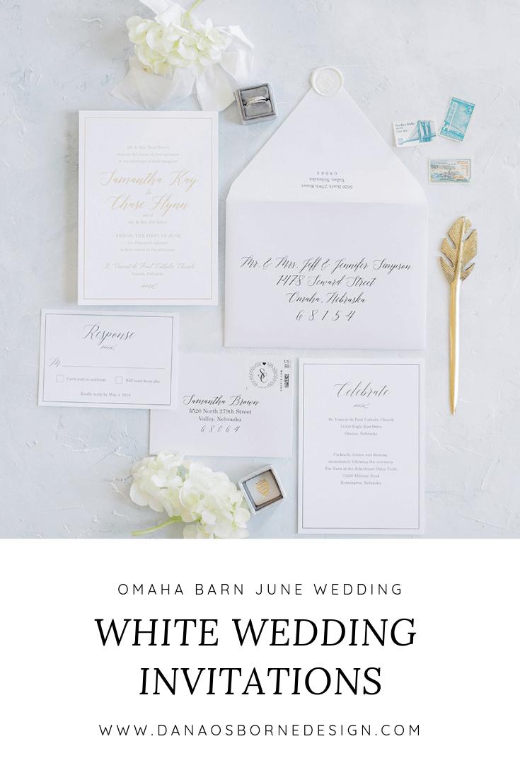 classic, white, gold foil, omaha barn, beautiful, wedding invitations, dana Osborne design, Omaha, midwest, affordable