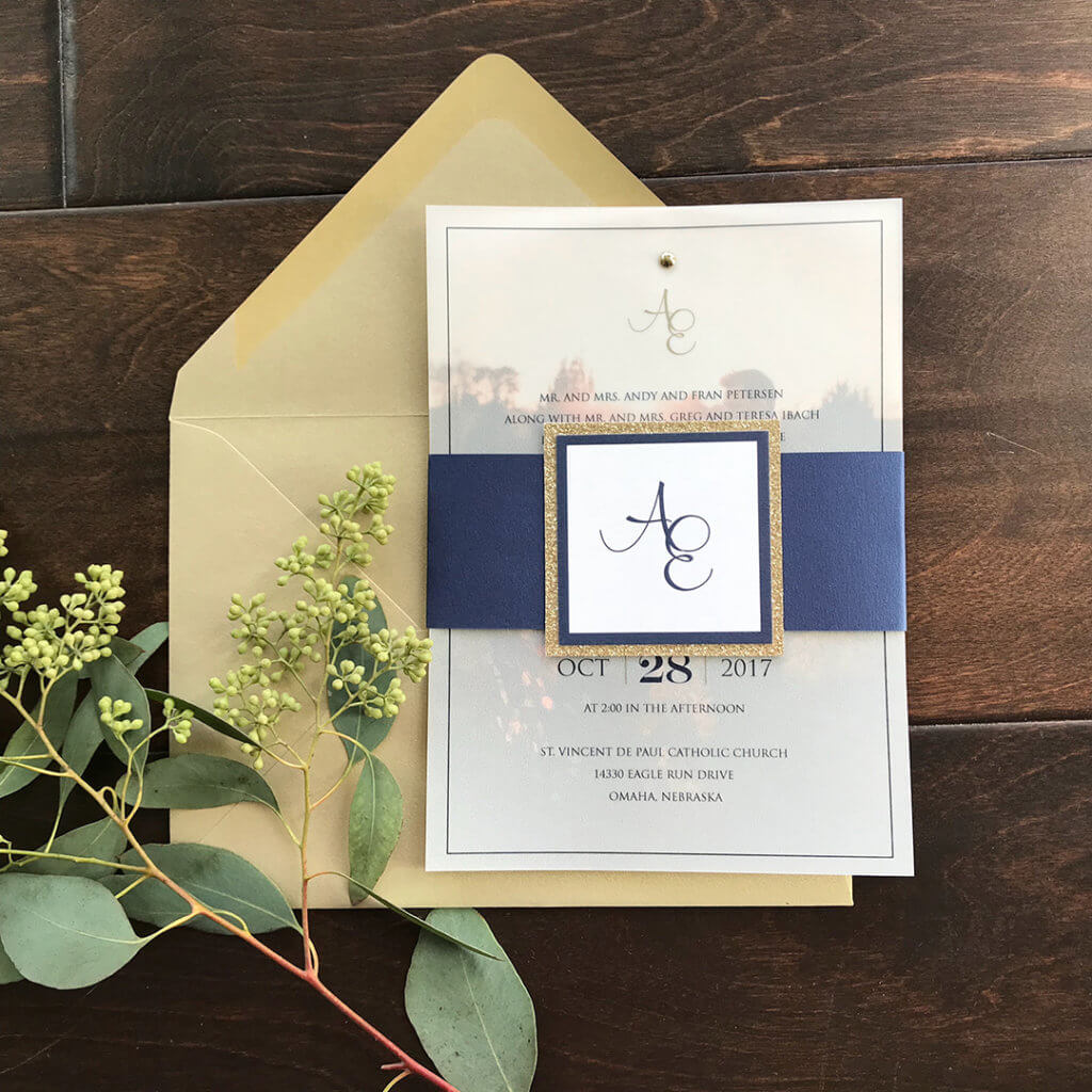 Wedding Invitations Navy Vellum Overlay Dana Osborne Design