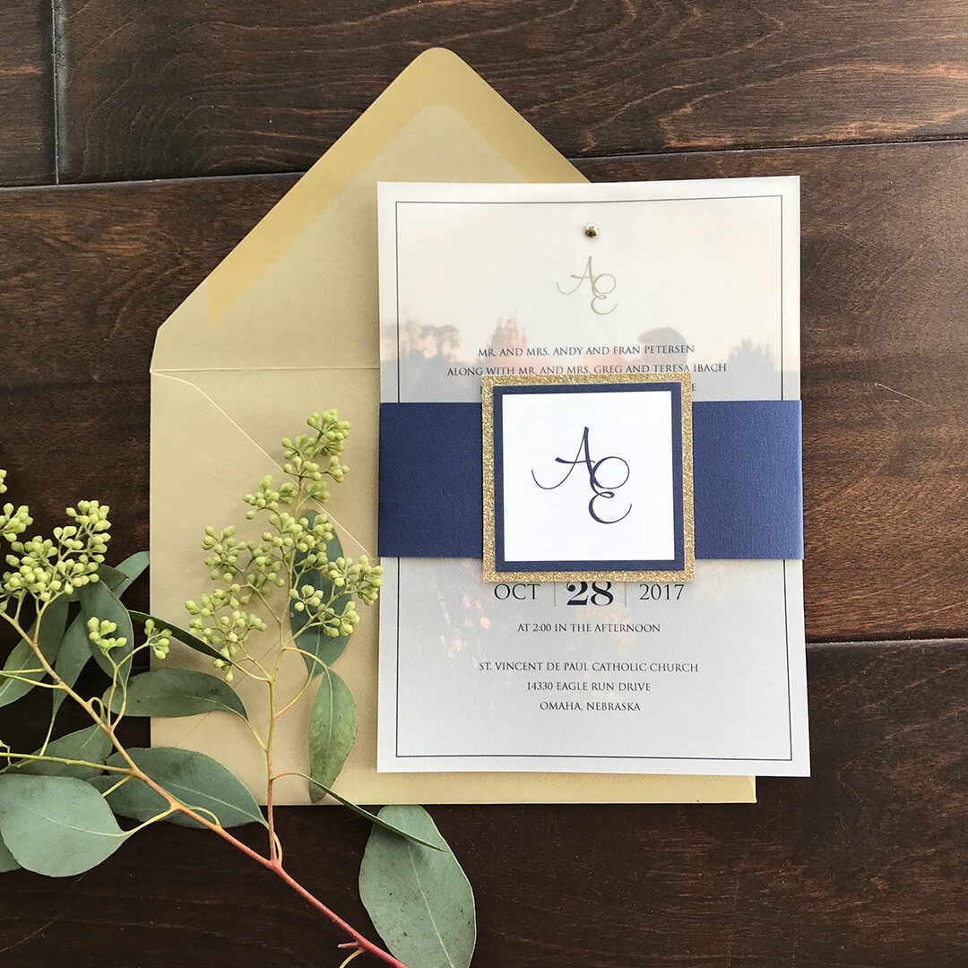 Wedding Invitations Navy Vellum Overlay Dana Osborne Design