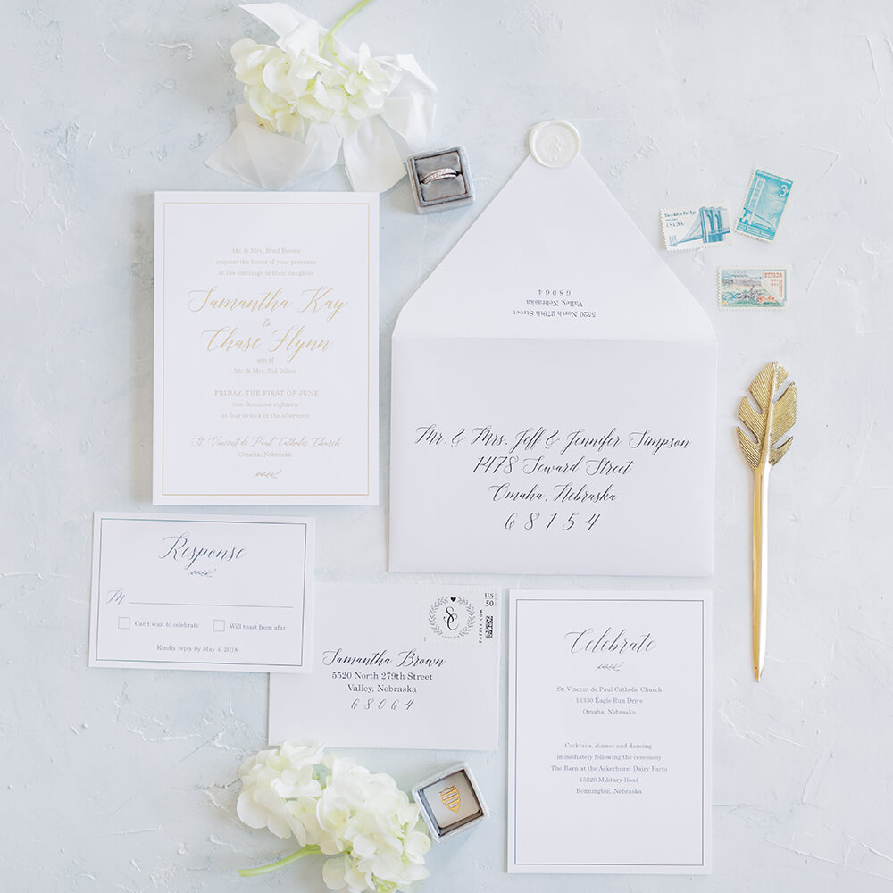 Classic White Gold Foil Wedding Invitations Dana Osborne Design