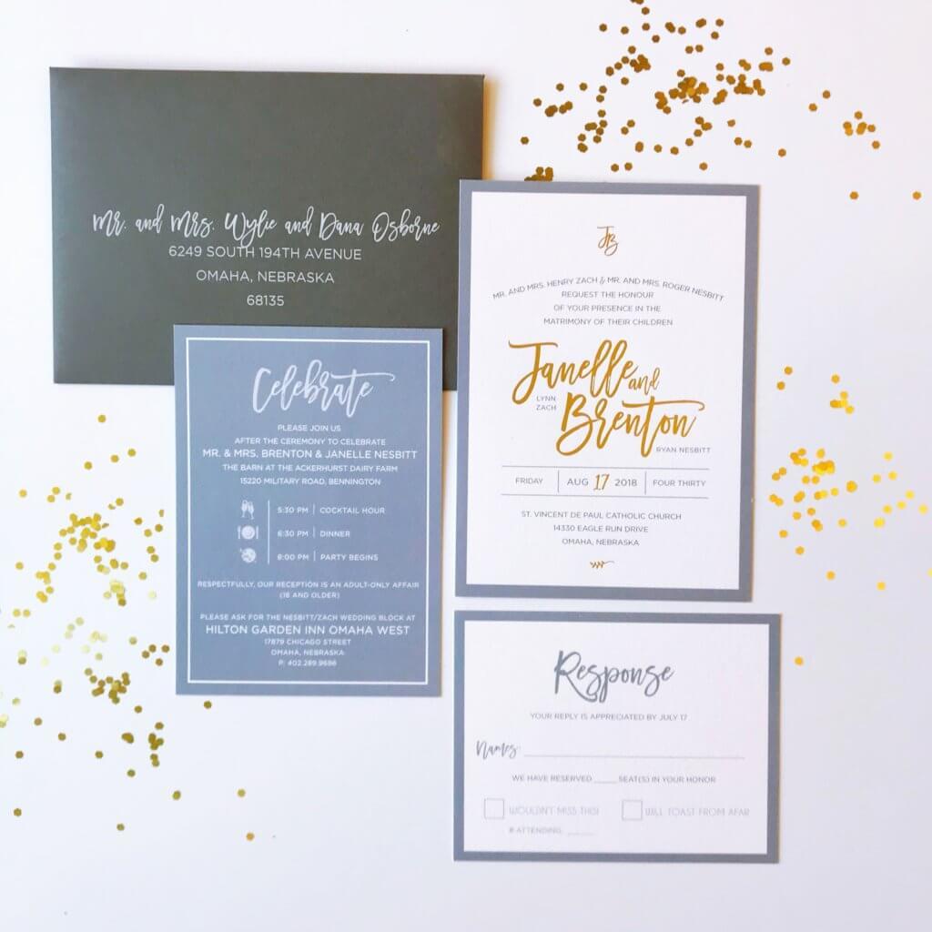 Dusty Blue Gold Wedding Invitations Dana Osborne Design