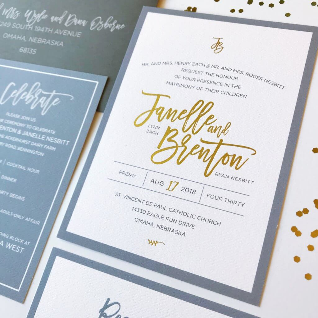 Dusty Blue Gold Foil  Wedding Invitations Dana Osborne Design
