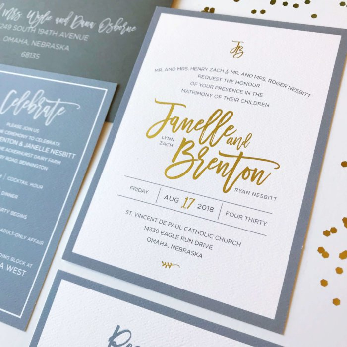 Dusty Blue Gold Foil Wedding Invitations Dana Osborne Design