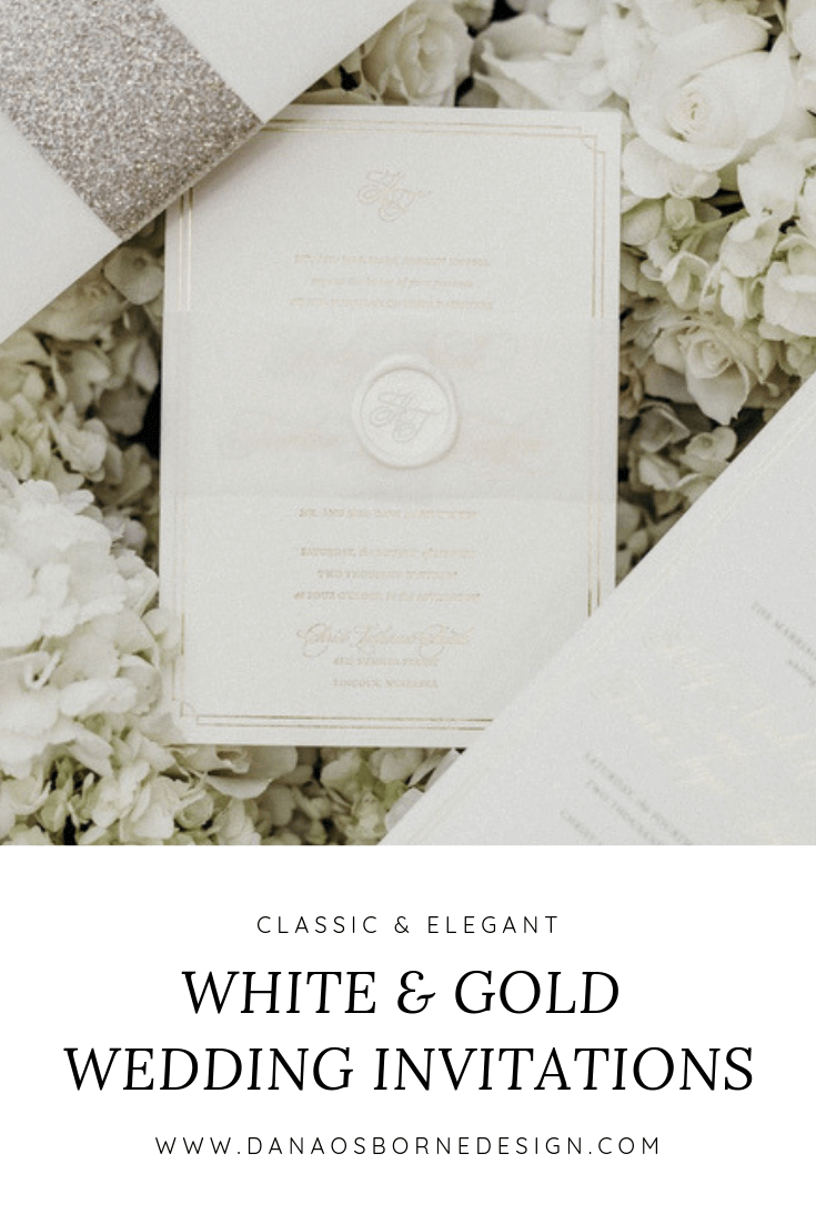 classic, wedding invitations, white, gold, dana Osborne design, Lincoln, Nebraska, midwest, affordable