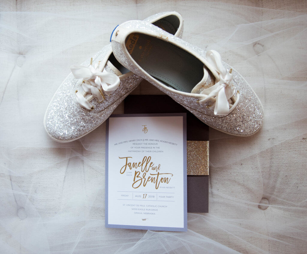 Wedding Invitations Dusty Blue Gold Dana Osborne Design