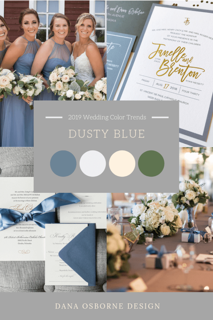 Dusty Blue Wedding color Trend 2019 Dana Osborne Design