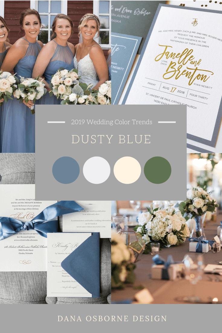 Dusty Blue Wedding color Trend 2019 Dana Osborne Design