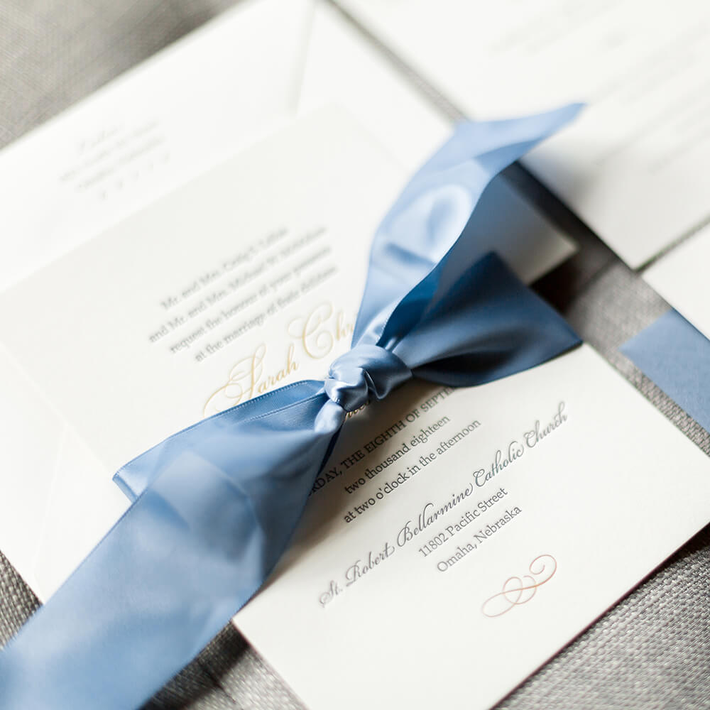 Wedding Invitation Letterpress Slate Blue Dana Osborne Design