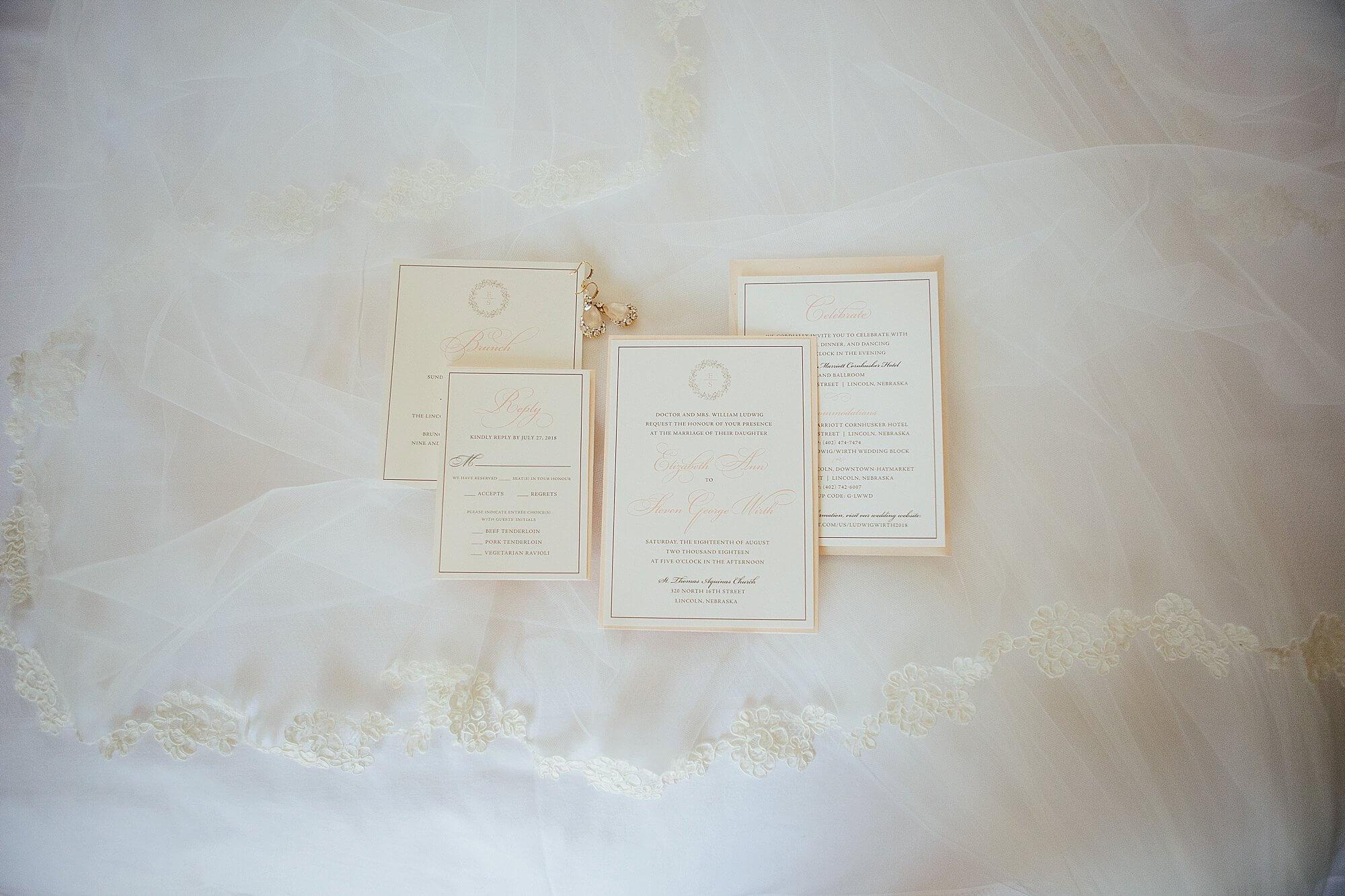 blush classic wedding invitation panel pocket Dana Osborne Design