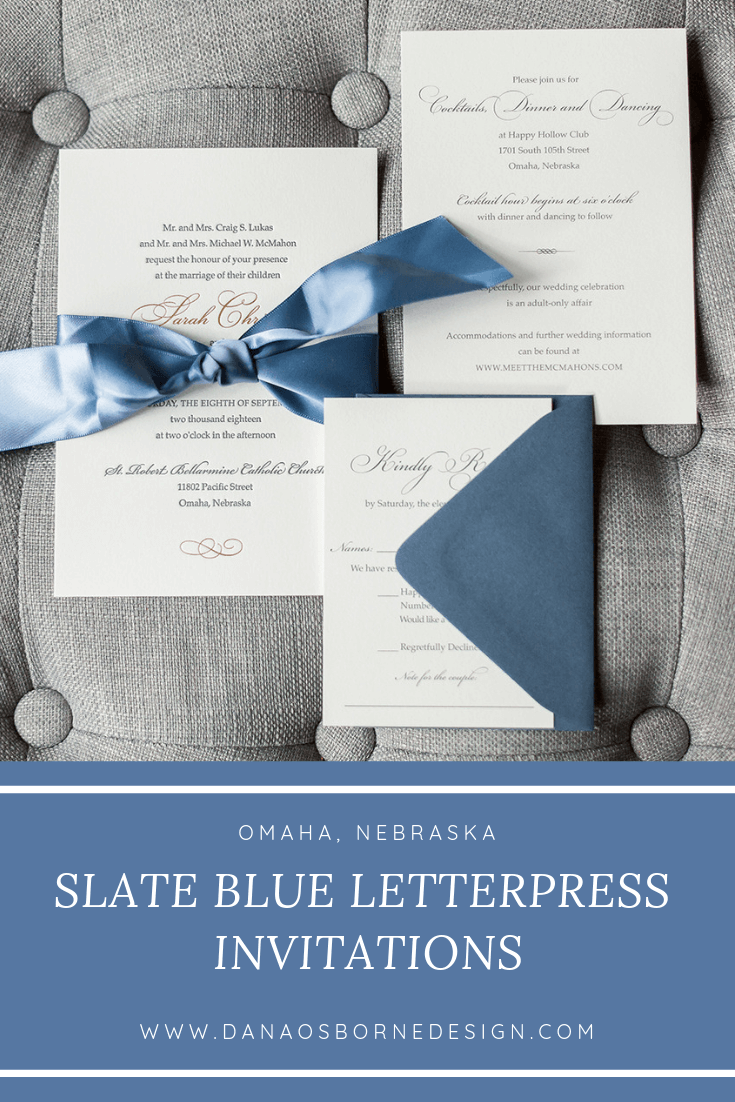 Slate Blue Happy Hallow Omaha Wedding. Letterpress nvitations by Dana Osborne Design