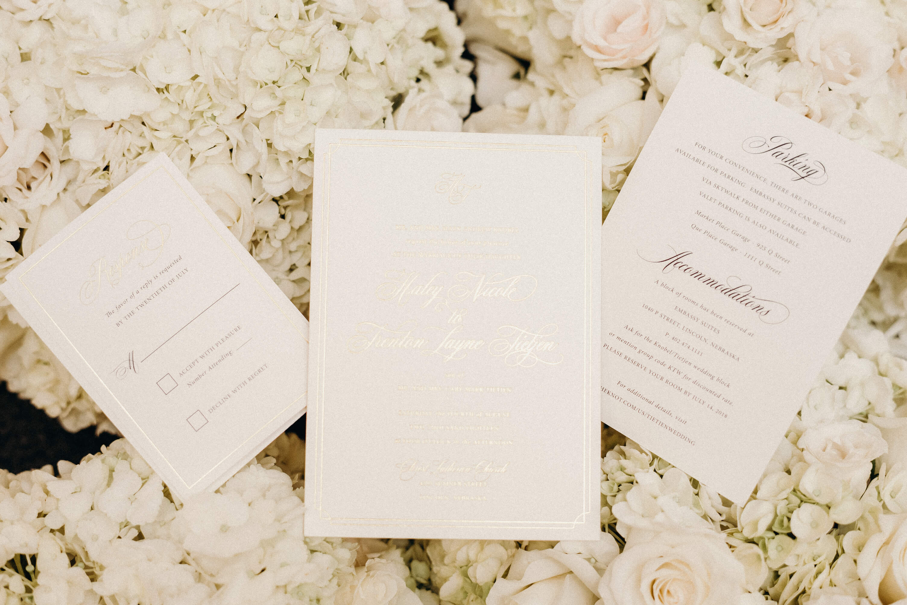 Gold foil White Wedding Invitations Dana Osborne Design