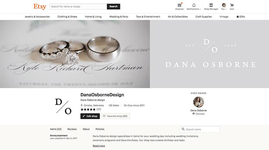 Dana Osborne Design Etsy wedding invitations