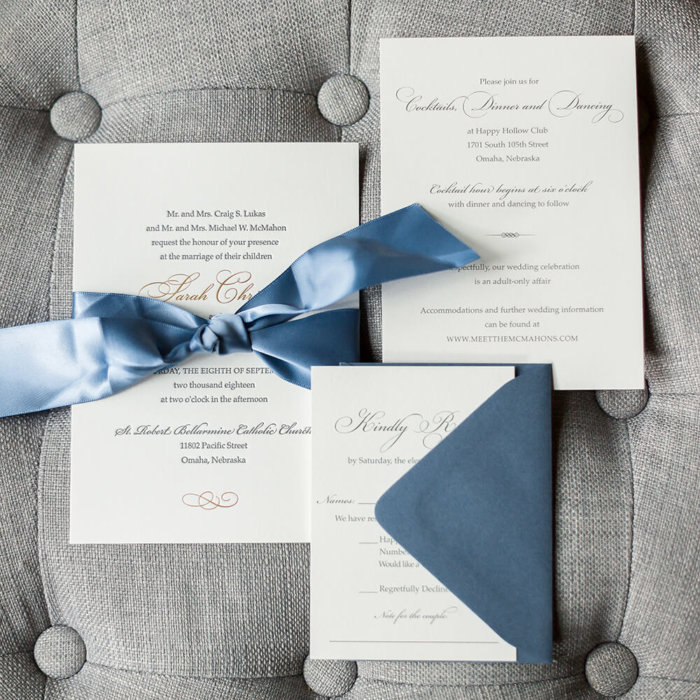 Slate Blue Wedding Invitations Letterpress Omaha Dana Osborne Design