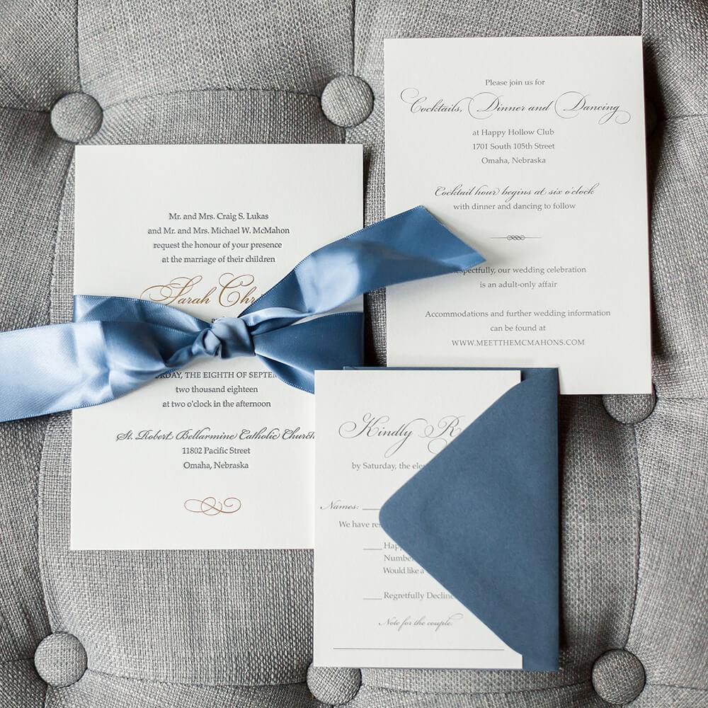 Slate Blue Wedding Invitations Letterpress Omaha Dana Osborne Design